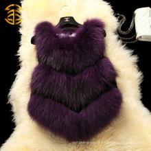 Gilet de fourrure de raccoon naturel Vêtements pour femmes Gilet de fourrure à raton