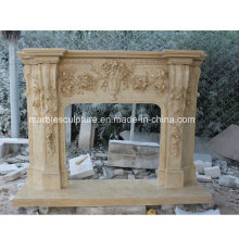 High Quality Popular Marble Fireplace with Carved Flowers (SY-MF213)