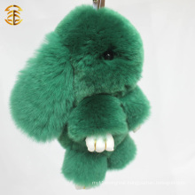 Factory Directly Supply Popular Cute Real Rex Rabbit Fur Keychain