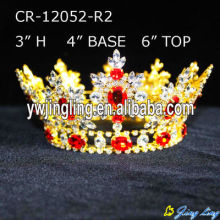 Full Round Gold Plated Beauty Queen Crowns