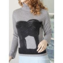 Высокий дамский пуловер шеи с печать Cprp1106L