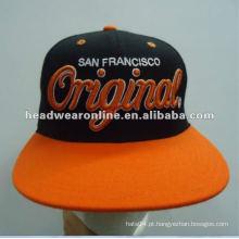 Chapéu de Snapback liso feito sob encomenda da borda / tampão do snapback do bordado 3D