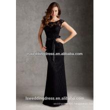 HB2123 Elegant black lace appliqued scoop neck off shulder deep V back mermaid/trumpet floor length exotic long dresses