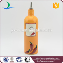 YSov0004-01 Orange Ceramic Oil Bottle With Chili Design