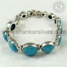 Superlunary beauty girls bracelet turquoise gemstone jewellery 925 sterling silver bracelet jaipur silver jewellery