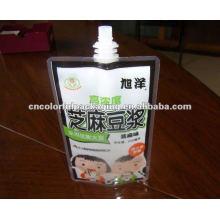 saco autônomo de embalagem de leite de soja com bico de sucção