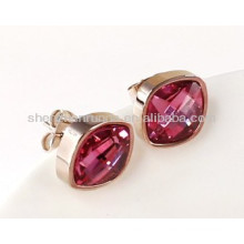 Purple rose red Czech crystal rhinestone zircon fashion stud earrings women's necessary earring jewelry accesories