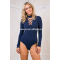Amazon fall new collar cross straps tight body pants ladies 2017 new design sexy ladies jumpsuit with long sleeve