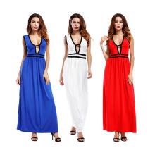 Heißer Verkauf sexy Frauen Party Kleid Polyester Soild Farbe V-Ausschnitt ärmelloses langes bodycon Kleid