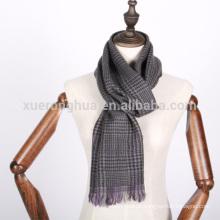 100% lã cinza houndstooth merino lã mens cachecol