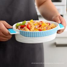 utensilios de cocina de cerámica con agarraderas de silicona resistente al calor y base de silicona antideslizante