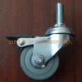 Gray rubber caster wheel with brake