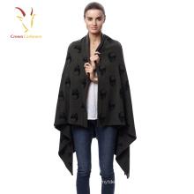 Woman fashion pattern square cashmere shawl pashmina knitted shawl scarf