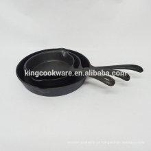 Frigideira / frigideira em ferro fundido pré-temperado / óleo vegetal com 2 orelhas