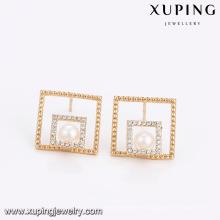 94653 Hot vente unique femmes bijoux double forme carrée perle boucles d'oreilles