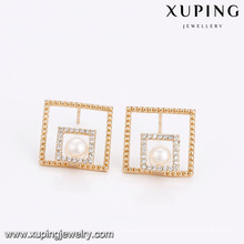 94653 Hot selling unique women jewelry double square shape pearl earrings