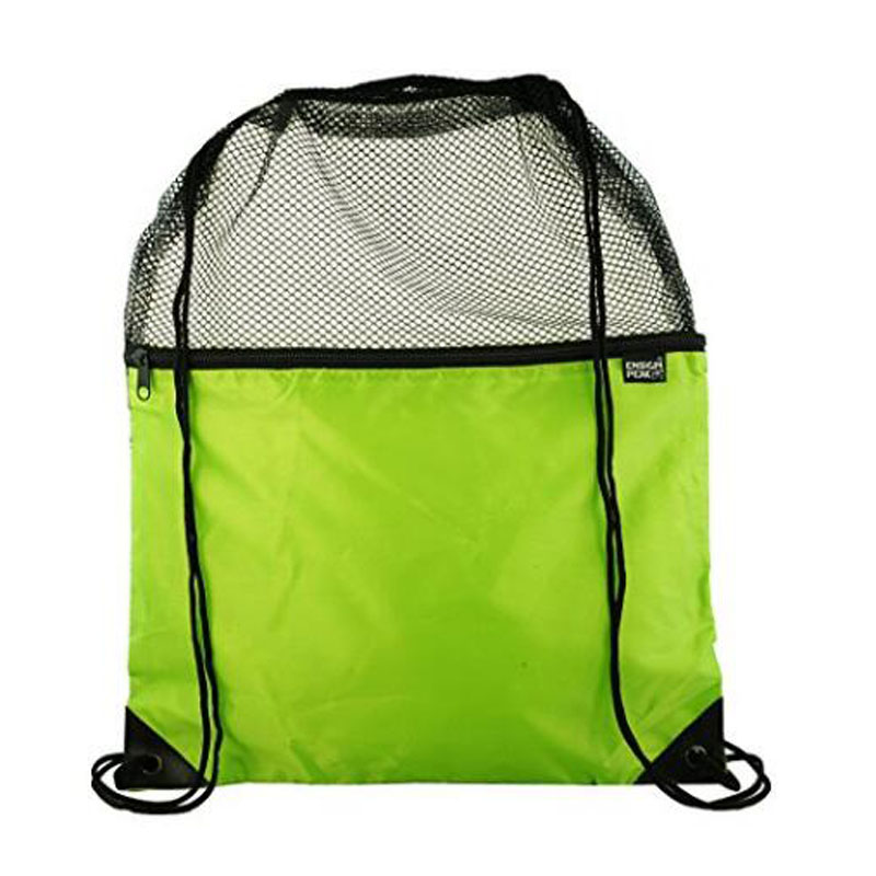 Green Mesh Drawstring Backpack