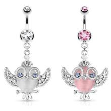 Gatos de acero quirúrgico Eye Owl Gemmed Wings Glasses y Crown Dangle Navel Ring
