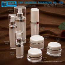 Clásico caliente-venta alta buena calidad final botellas y tarros cosméticos acrílico ovalado de la capas dobles de envases cosméticos
