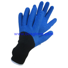7 Gauge Acrylic Liner, Extra Thick Terry Knitted & Brushed, Latex Coating, 3/4, Ripple Styled Foam Finish Safety Gloves