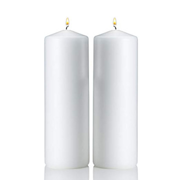 Long Burn Time Tall Unscented Lilin Pillar putih