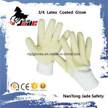 Algodón o forro de Jersey con guantes de punta de seguridad de 3/4 de látex amarillo acabado con acabado