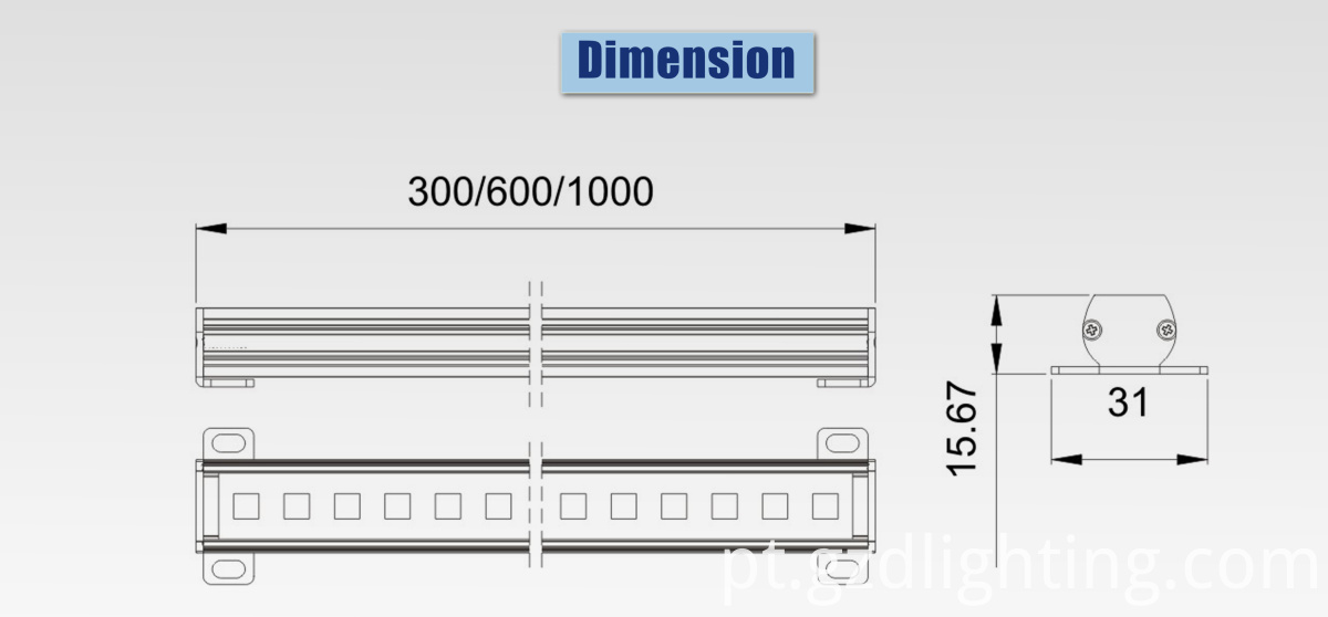 outdoor linear light dimension
