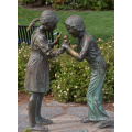 Popular Designs Life Size Bronze Boy and Girl Playing Statue for Garden