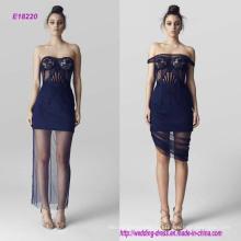Горячая прозрачный плеча вышитые вечернее платье Бюст
