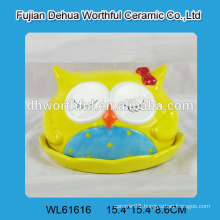 2016 hot selling ceramic butter dish in owl shape