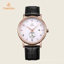 Reloj de pulsera de correa de cuero negro para hombre con esfera pequeña, fecha automática 72287