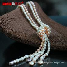 Joyería de moda natural de agua dulce barroca collar largo collar de perlas