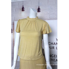 Yellow Blouse With Round Neck For Ladies