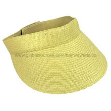 Fashionable Paper Sun Visor Hat, Made from Paper Straw with Velcro Strap at BackNew