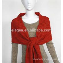Acrílico malha lenço de cor pura com franja