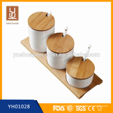 hign quality hot sell super white ceramic cruet set with bamboo tray
