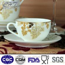 200ml heißer Verkauf Goldporzellan kleiner Kaffee und Teecup und Saucer eingestellt