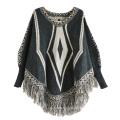 Женские кардиган обертывания зимний вязаный кабель Бахрому шали пончо свитер (SP614)