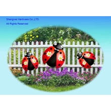 Metal Set of 3 pcs Ladybug Wall Decor or Fence Decor
