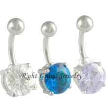 316L Steel Flexible Round Cubic Zircon Belly Bars Piercings Jewelry