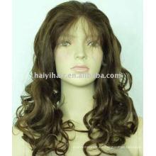 Stock al por mayor 100% pelucas llenas suizas del cordón