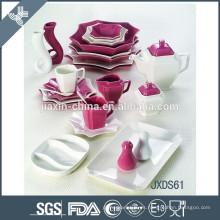 Juego de cena de porcelana de 61 piezas color mezclado, juego de cena de ocho piezas, porcelana blanca