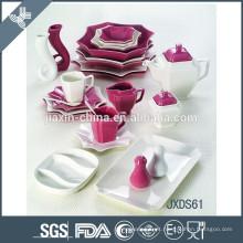 Grupo de jantar de mistura da porcelana da cor 61PCS, grupo de comensal lateral de oito, porcelana branca
