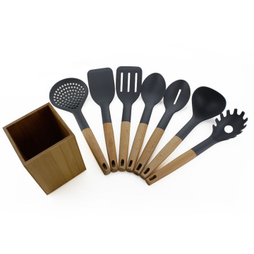 7PCS Nylon Kitchen Utensil Set med hållare