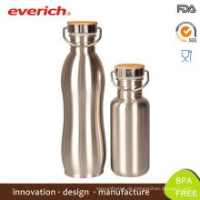 Everich reflektieren Laser-Estrich-Edelstahl-Flasche mit Bambus-Abdeckung