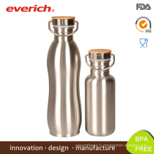 Everich reflète une bouteille en acier inoxydable à vis noire avec couvercle en bambou