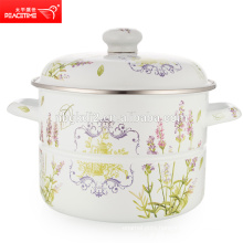 big size enamel steamer with cartoon decal