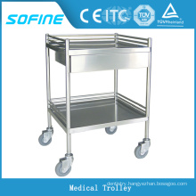 SF-HJ2712 stainless steel hospital medical cart with drawer