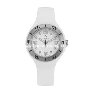 Stainless steel women's white silicone watch