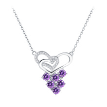 Prong проложить CZ камень стерлингового серебра женщин ожерелье моды